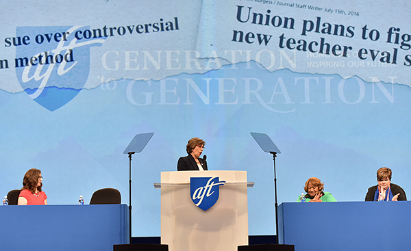 Randi Weingarten at AFT convention 2016. Photo by Russ Curtis.